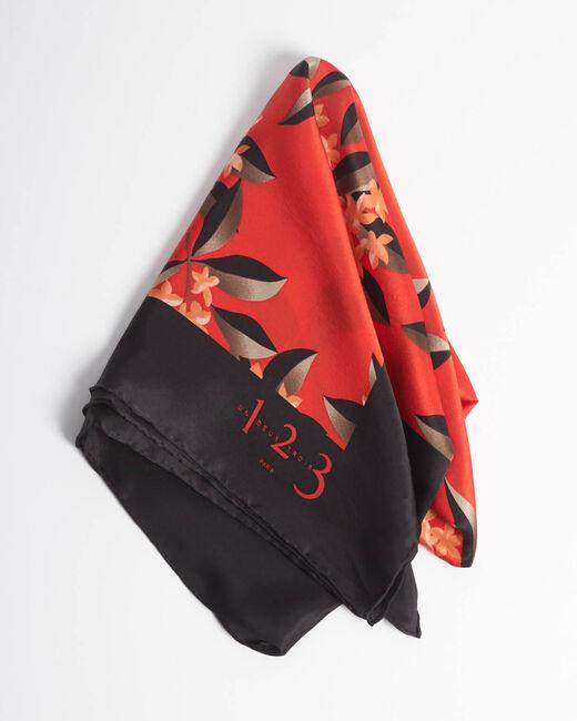 Carré de soie rouge imprimé floral Anita (2) - 1-2-3