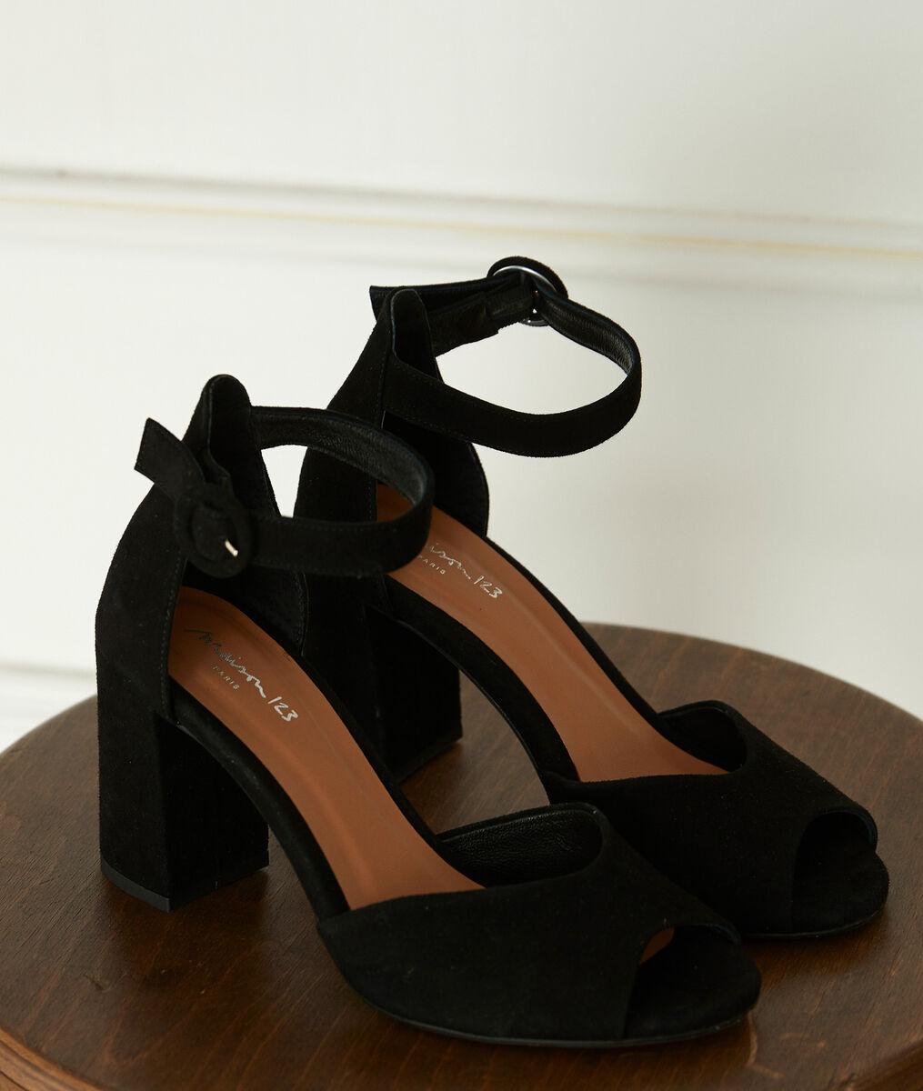 Sandales à talons en cuir noires Jade PhotoZ | 1-2-3