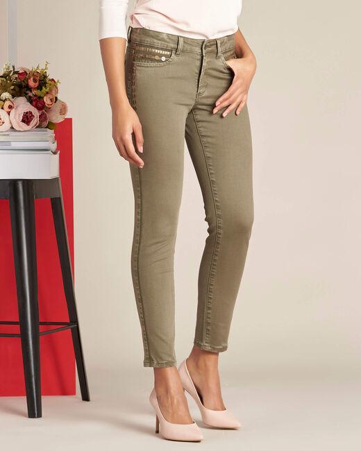 Khakifarbene 7/8 Slim-Fit-Jeans mit niedriger Leibhöhe und Pailletten Turenne (2) - 1-2-3