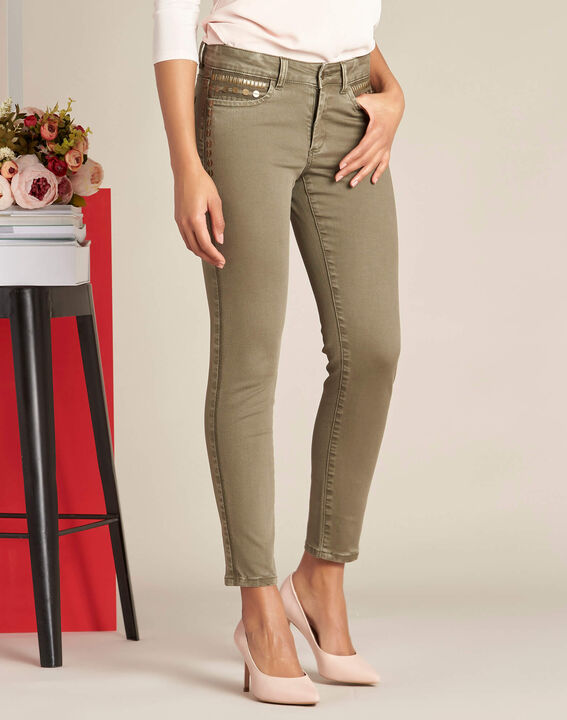 Turenne khaki slim-cut, low-waisted 7/8 length jeans with sequins (3) - 1-2-3