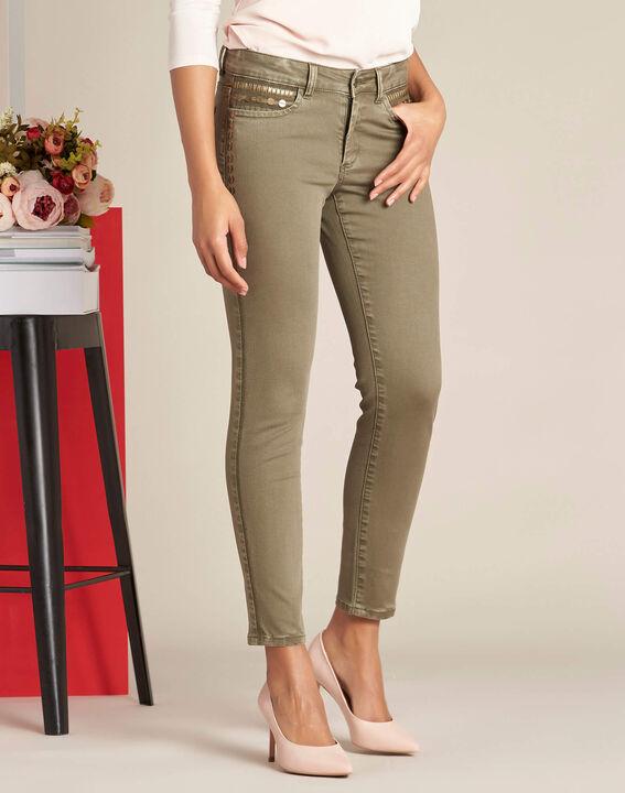 Khakifarbene 7/8 Slim-Fit-Jeans mit niedriger Leibhöhe und Pailletten Turenne (3) - 1-2-3
