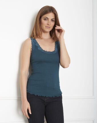 Guest green vest top in cotton and silk with lace neckline dark teal.