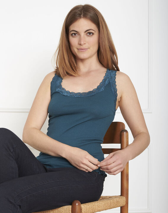 Guest green vest top in cotton and silk with lace neckline (1) - Maison 123