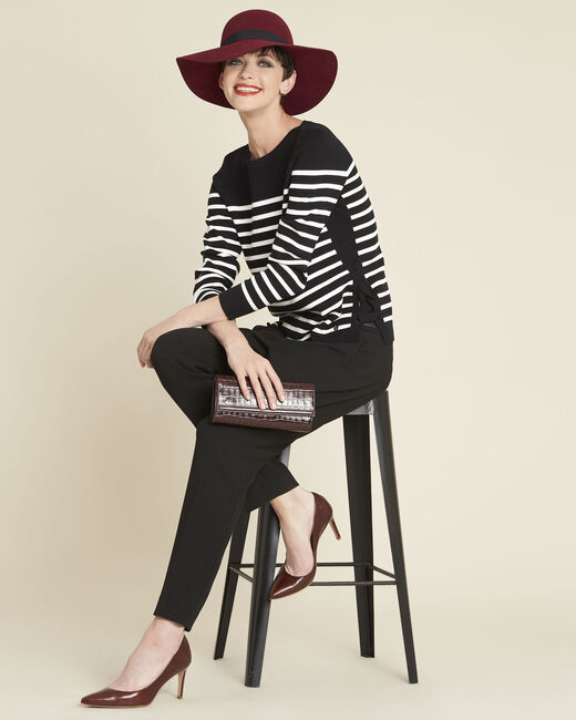 Boat black striped sweater with lacing on the side (2) - 1-2-3