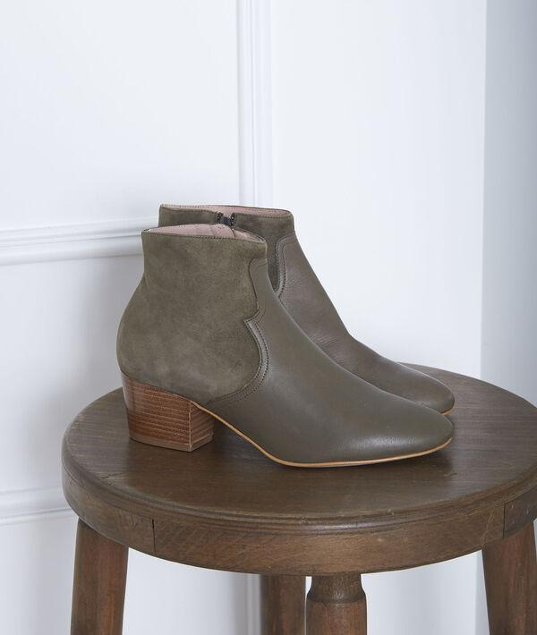 Khakifarbene Stiefel mit Absatz Bimaterial Kendal PhotoZ | 1-2-3