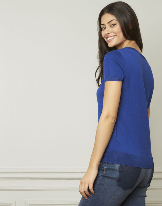 Pull bleu fin manches courtes Begonia (2) - Maison 123