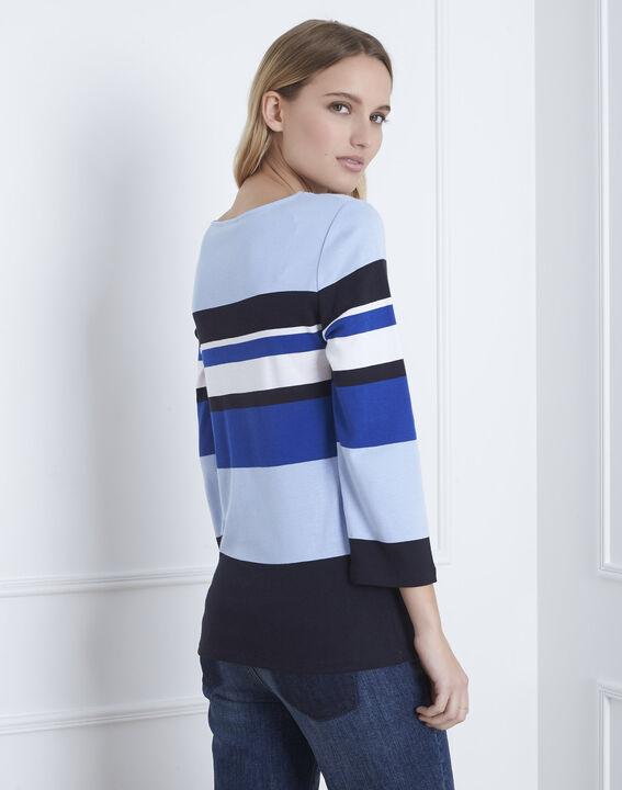 Tee-shirt bleu rayé encolure V Gayure (3) - Maison 123