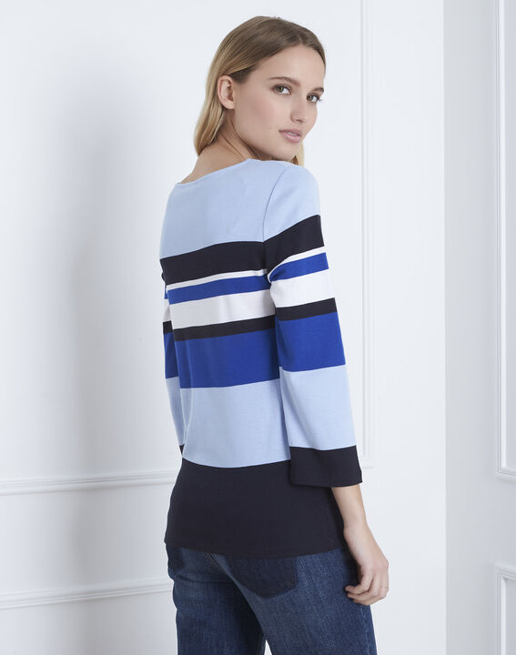 Blaues, gestreiftes T-Shirt mit V-Ausschnitt Gayure (3) - Maison 123