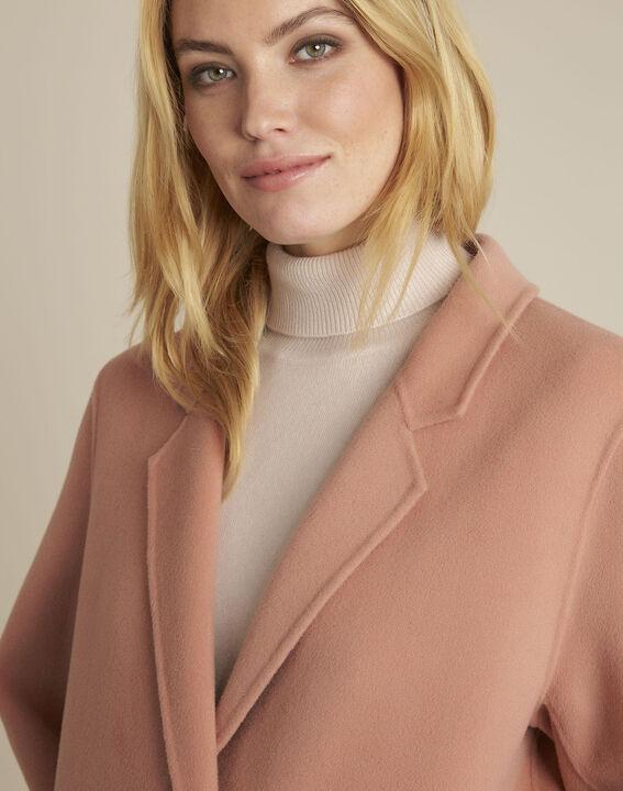 Rosa langer Mantel mit Druckknöpfen Edgar (3) - 1-2-3