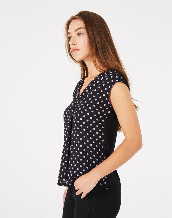 Tee-shirt noir à pois Betina (3) - 1-2-3