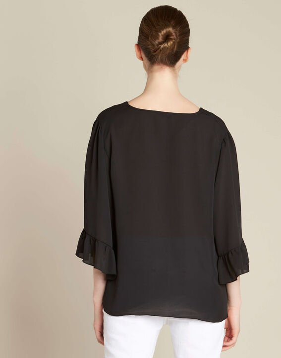 Dora black blouse with eyelets and lacing on the neckline (4) - 1-2-3