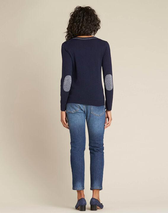Marineblauer Pullover mit glänzendem Ausschnitt aus Wolle und Seide Newyork (4) - 1-2-3