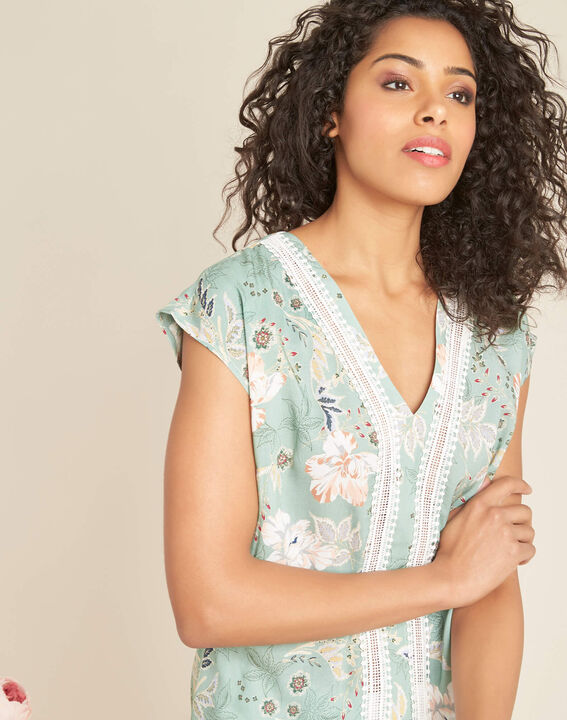 Amir light green blouse with floral print and lace PhotoZ | 1-2-3