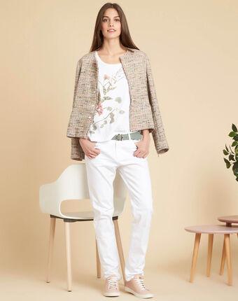 Wit t-shirt met bloemenmotieven eloi blanc.