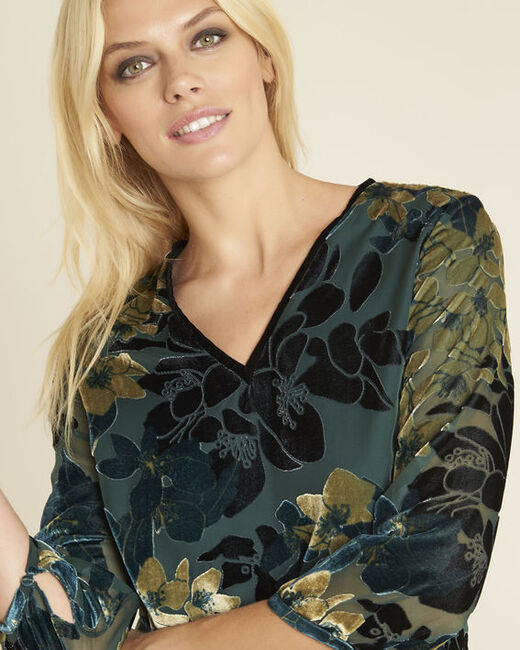 Noémie emerald green dress with floral print with openwork detailing (2) - 1-2-3