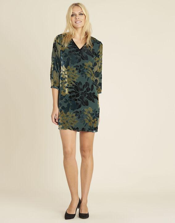 Smaragdgrünes Kleid mit Ausbrennmuster und Blumenprint Noémie (3) - 1-2-3