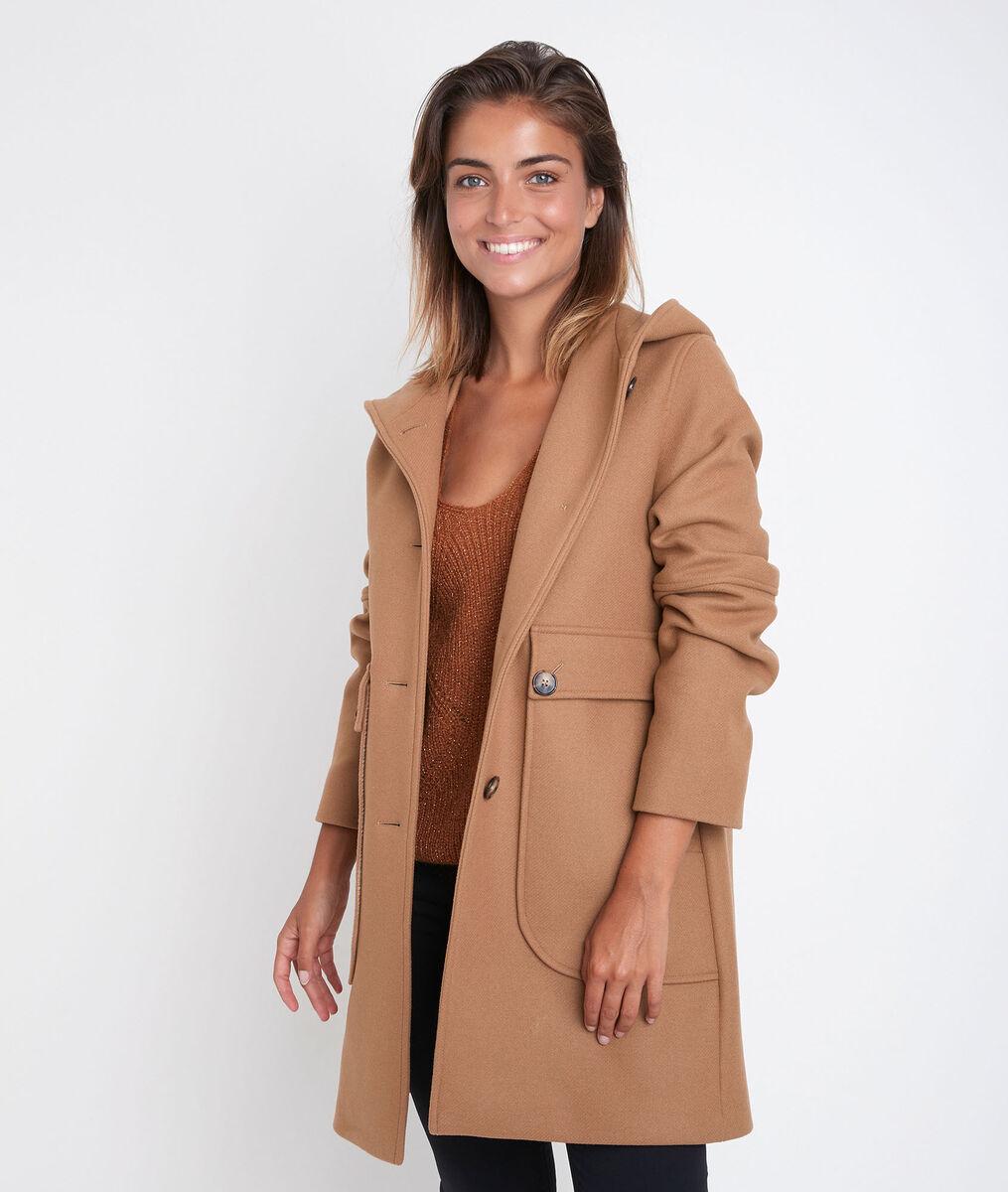 Manteau en laine à capuche camel Ophelie PhotoZ | 1-2-3