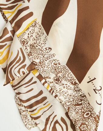Abba caramel decorative printed square scarf in silk caramel.