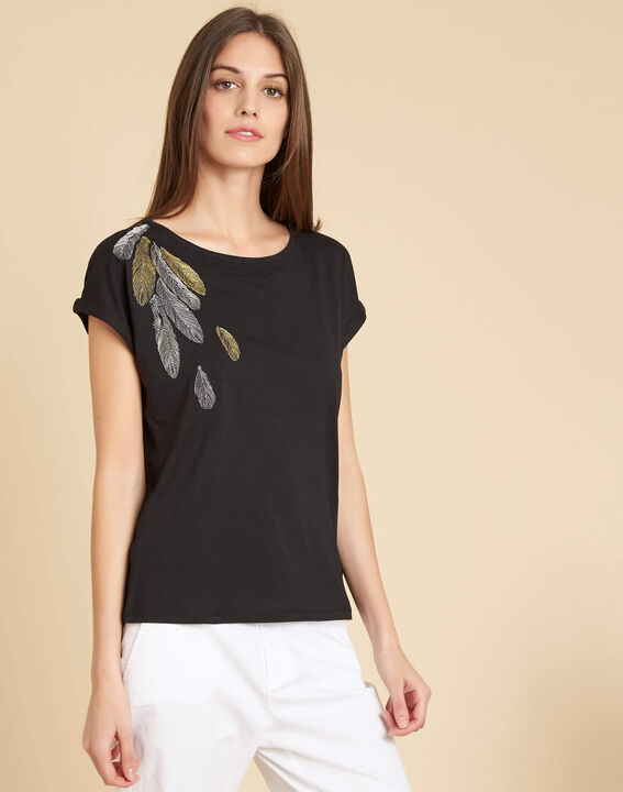 Epine black T-shirt with feather embroidery (3) - 1-2-3