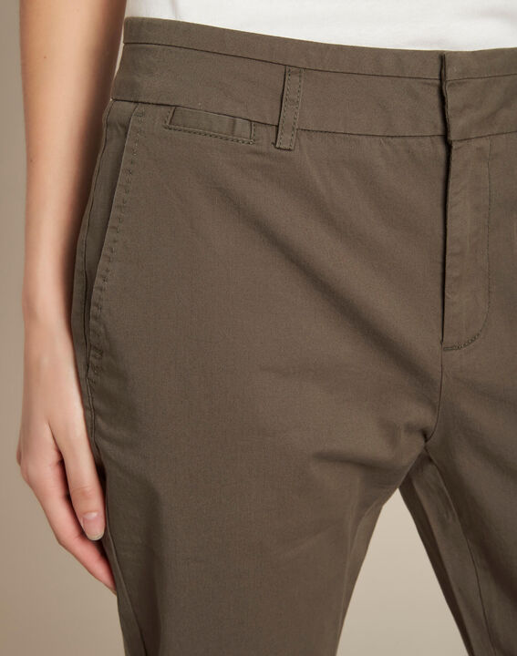 Jamy khaki cotton cropped trousers with lacing PhotoZ | 1-2-3