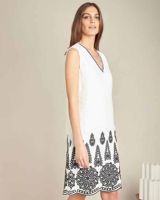 Pia cream embroidered dress in linen (2) - 1-2-3