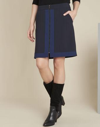 Donkerblauwe rok met rits en twee kleuren aramis marine.