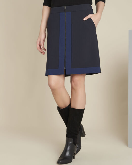 Aramis navy bi-colour skirt with zip (2) - 1-2-3