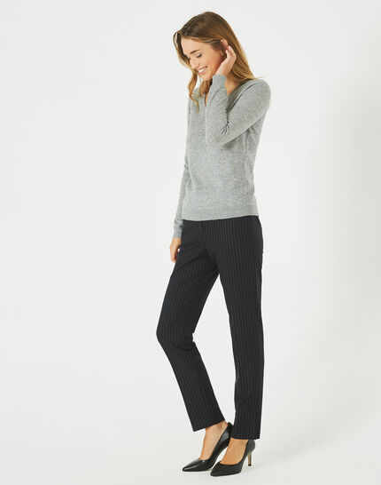 Paquerette grey cashmere sweater with V-neck (1) - 1-2-3