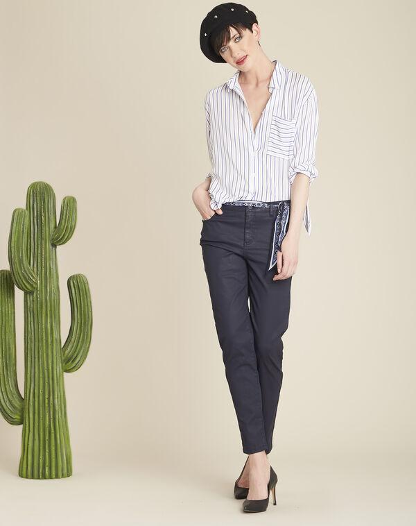 Witte blouse met paarse strepen Darwin (1) - 37653