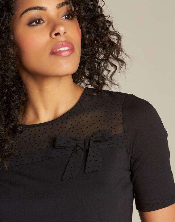 T-shirt noir à noeud Elouisa PhotoZ | 1-2-3