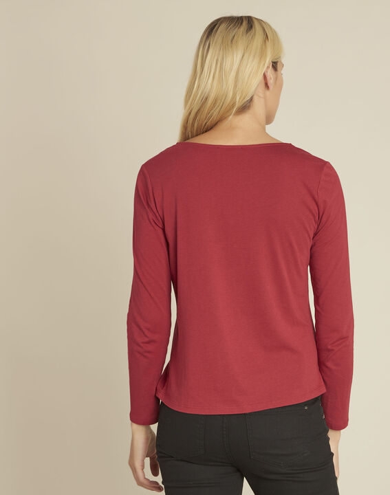 Gulpure red t-shirt with decorated neckline (4) - 1-2-3