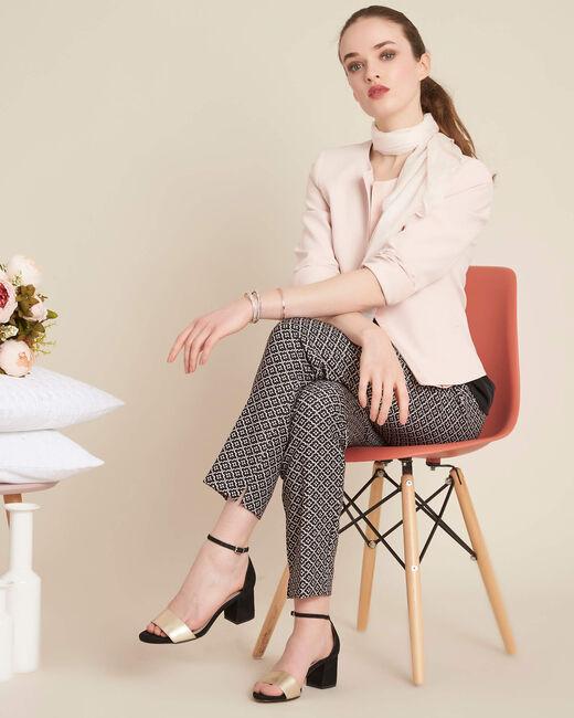 Pantalon noir & blanc imprimé fleuri Viva (1) - 1-2-3