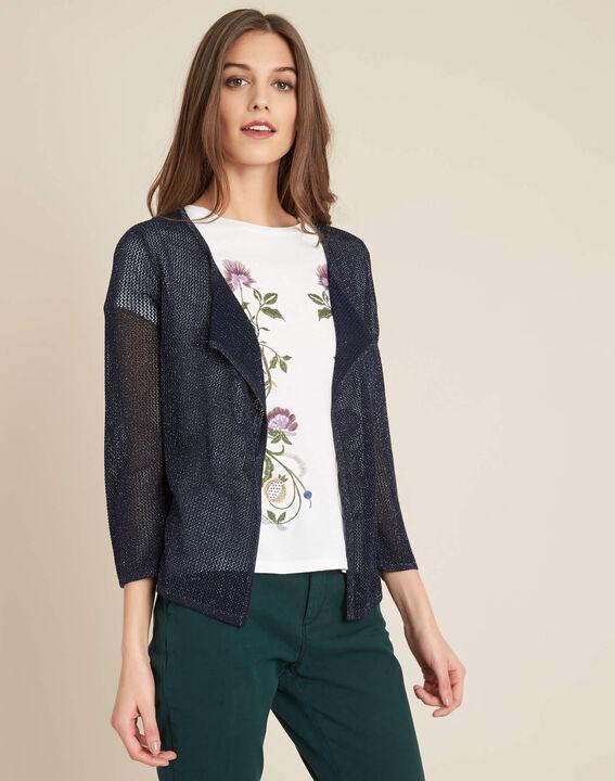Noisette fine-knit navy cardigan (3) - 1-2-3