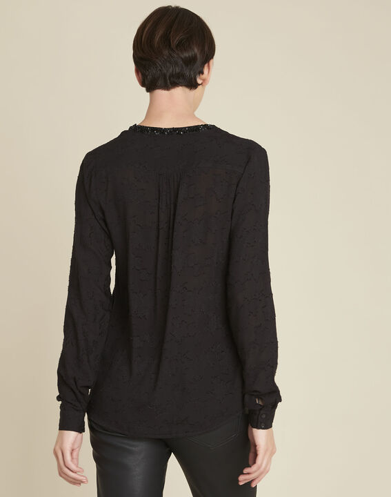 Chayotte black devore blouse with jewelled neckline (4) - 1-2-3