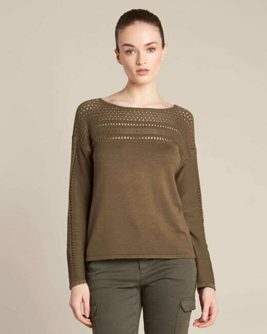 Khakifarbener Pullover mit Ajour-Details Nefle (2) - 1-2-3