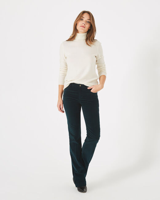 Jack wide-cut forest green jeans in velour (2) - 1-2-3