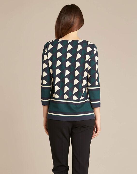 Bosgroene blouse met grafische print Evita (4) - 37653