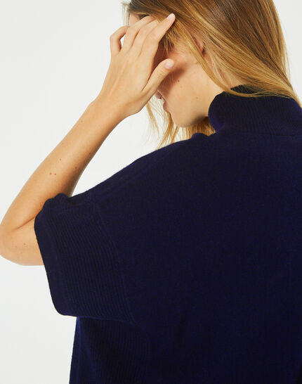 Passiflore navy cashmere cape with polo neck (4) - 1-2-3