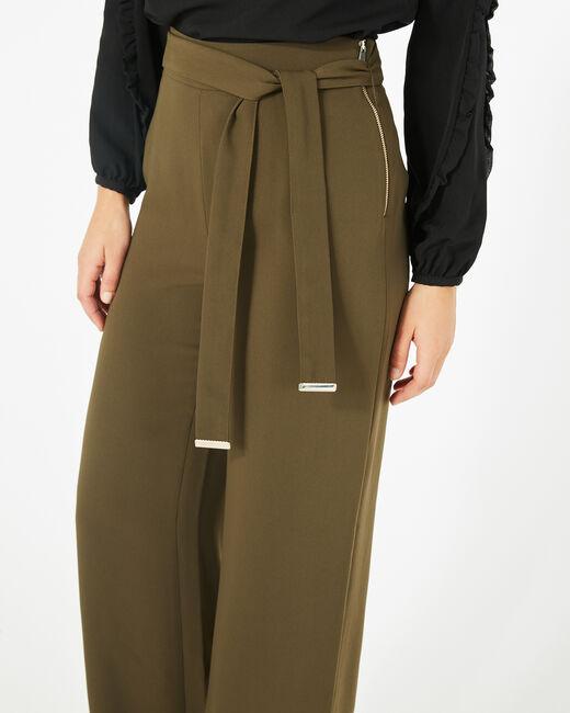 Pantalon kaki de tailleur fluide avec ceinture Voyou (2) - 1-2-3