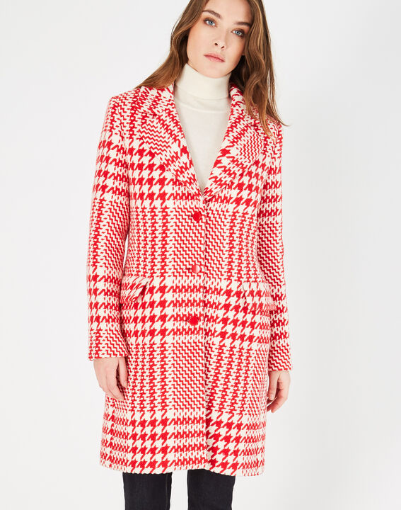 Jude red check coat in jacquard (2) - 1-2-3
