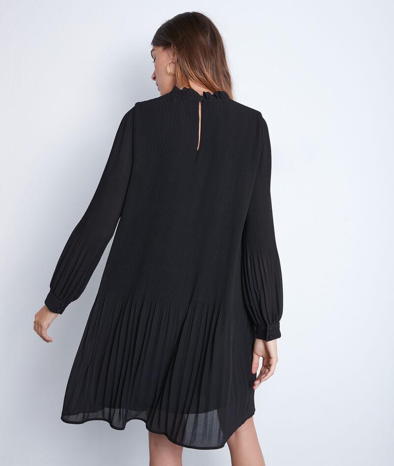 Robe courte trapèze plissée noire Sylena PhotoZ | 1-2-3