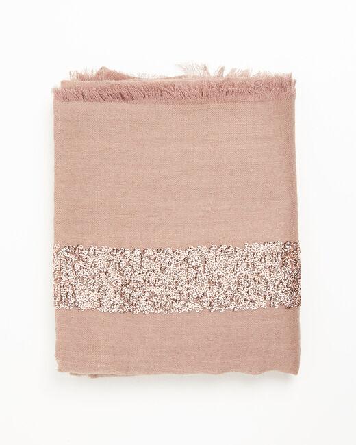 Foulard rose sequins en laine mélangée Fiona (2) - 1-2-3