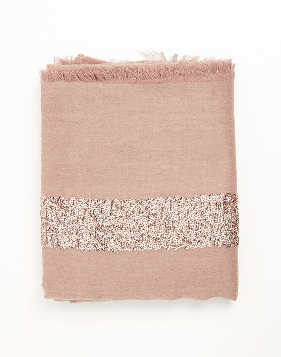 Fiona pale pink wool scarf with sequins (2) - 1-2-3