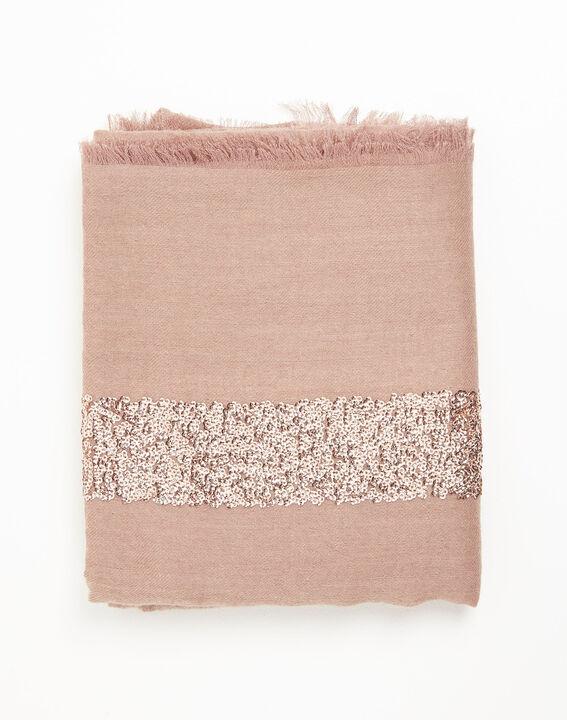 Foulard rose pâle sequins en laine Fiona (2) - 1-2-3