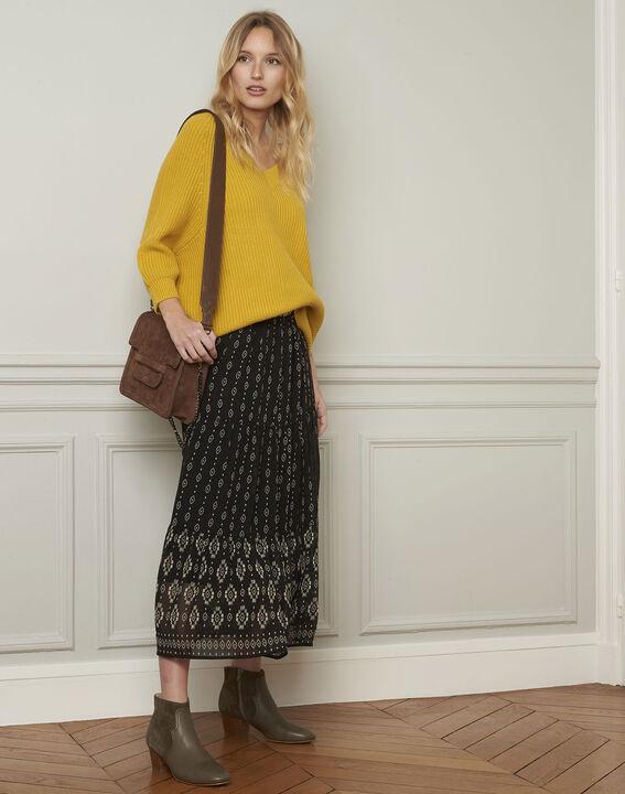 Anijskleurige trui van katoen en wol met V-hals Ankara (2) - Maison 123