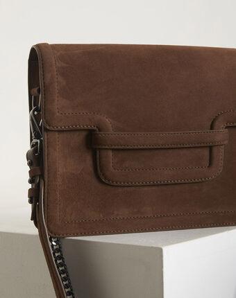 Le it bag 123 - sac bandoulière en cuir velours mastic.