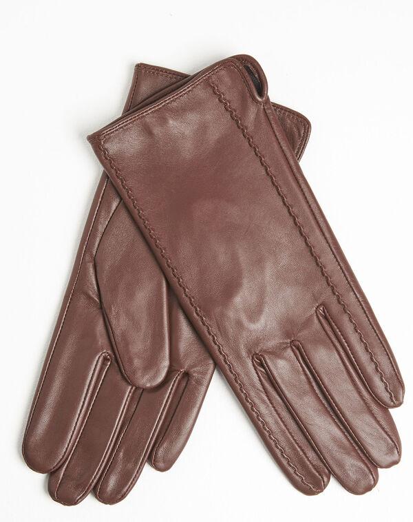 Gants marron en cuir Ulrick (2) - 1-2-3