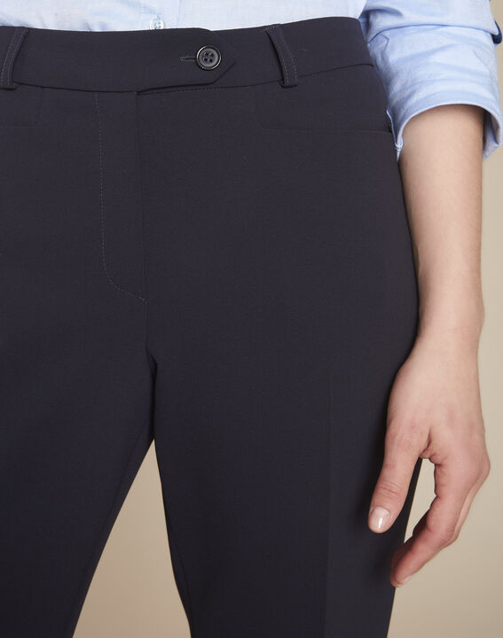 Valero navy microfibre cigarette trousers (3) - Maison 123