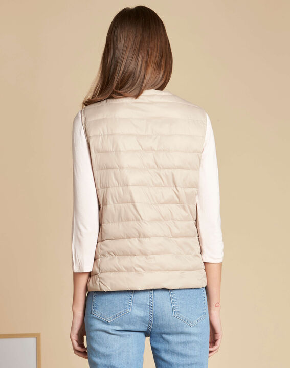 Yvana fine beige sleeveless padded coat (4) - 1-2-3