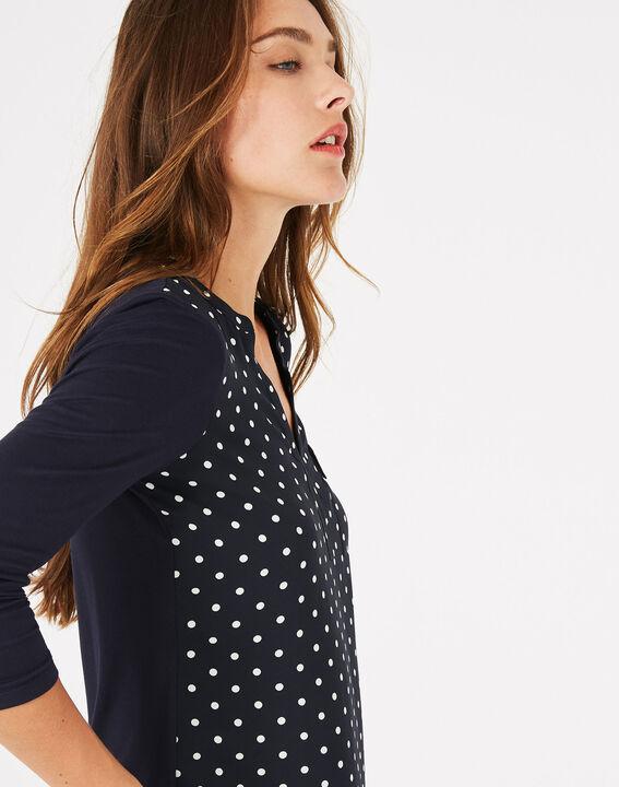 Marineblaues T-Shirt mit Tupfen Leden (2) - 1-2-3